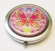 Red Butterfly Make-up Round Compact Mirror