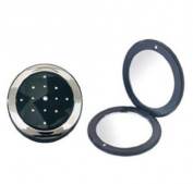 Brandon Rhinestone Compact Mirror - Black