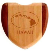Compact Mirror of a Wooden Heart-Shape with Hawaiian Islands
