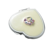 Aeropen International M-42 Pearl Heart Iron Compact Mirror with Purse Ornaments and Epoxy Top