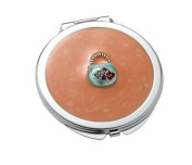 Aeropen International M-49 Orange Round Iron Compact Mirror with Purse Ornament and Epoxy Top
