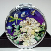Mother of Pearl Purple White Peony Flower Design Cosmetic Double Compact Magnifying Purse Mirror
