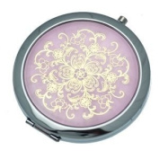 BEATRICE 70mm Silver Pink & Gold Compact Mirror