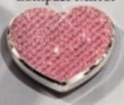 Pink Glitter Heart Compact Mirror