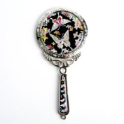 Mother of Pearl Princess Flower Butterfly Design Cosmetic Makeup Hand Mirror