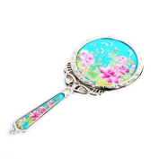 Mother of Pearl Princess Pink Peony Flower Design Sky Blue Round Stainless Steel Cosmetic Makeup Hand Mirror