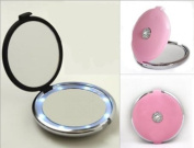 Pink Lighted LED Jewelled 10X/1X Compact Mirror with. Crystals