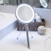 LED Lighted Makeup Mirror, Vanity Mirror, Hanging Mirror, and Hand Mirror in One - Includes Adjustable Stand Making it a Great Tabletop Bathroom Mirror at Any Angle - Magnifying Mirror is Double Sided (One 5X Magnification, the Other 1X) and Includes an O