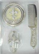 Welforth Fine Pewter Fleur de Lys design Comb, Compact Mirror, Key Chain Set