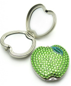 . Crystal Green Apple Brass Compact Mirror 3X