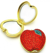 . Crystal Red Apple Brass Compact Mirror 3X