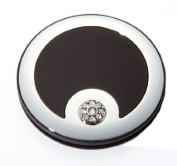 Brandon Femme M792 5X Normal View. Rhinestone Compact Mirror, Black