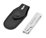 Folded Stainless Steel Nail Clipper in Black Leather Pouch by Alpen. Made in Italy
