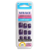 12pc Vivace Airbrush Purple with Silver Tip False Nail