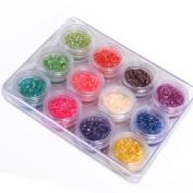 12 Colours Crushed Shell Powder Nail Art UV Gel Acrylic