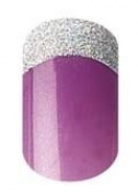 Party Nails Pre-glued Nail Set 12pc Short Length Purple and Silver Glitter