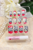 DS Salon quality NAIL New design Nail Art 12pcs false nail with Black and white leopard white flowers fake fingernails nail patch
