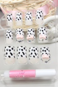 DS Salon quality NAIL New design Nail Art 12pcs false nail with black and white leopard with pink bow fake fingernails nail patch
