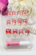 DS Salon quality NAIL New design Nail Art 12pcs false nail with red and black spots white flowers fake fingernails nail patch