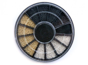 3-Colour Mini Ball Beads NAIL ART 3D Decoration In Wheel --Black, Silver & Gold with Bonus Sample