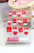 LIQI Salon quality NAIL New design Nail Art 12pcs snow flowers red with read dot white bow false nail fake fingernails nail patch