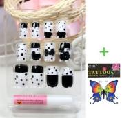 LIQI Salon quality NAIL New design Nail Art 12pcs black and white false nail fake fingernails nail patch