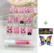 LIQI Salon quality NAIL New design Nail Art 12pcs pink false nail with black roses fake fingernails nail patch