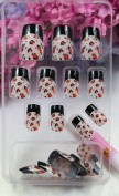 GGSELL TAC High quality New design Nail Art 24pcs black and white false nail with Colour pattern fake fingernails nail patch