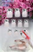 GGSELL TAC High quality New design Nail Art 24pcs fresh-coloured false nail with black flowers fake fingernails nail patch
