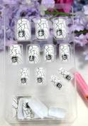 GGSELL TAC High quality New design Nail Art 24pcs white false nail with terrible skull head fake fingernails nail patch