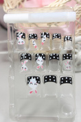 X.T Pre-glued nails New design Nail Art 12pcs false nail with cute rabbits fake fingernails nail patch