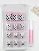 X.T Pre-glued nails New design Nail Art 12pcs false nail with Pink white leopard fake fingernails nail patch