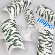 350BUY 100pcs Black White Zebra Design Tips Glitter Acrylic French False Nail Art Tips
