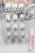 GGSELL X.T Pre-glued nails New design Nail Art 12pcs false nail black and white leopard with white bow fake fingernails nail patch