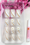 GGSELL X.T Pre-glued nails New design Nail Art 12pcs white false nail with white flowrs fake fingernails nail patch