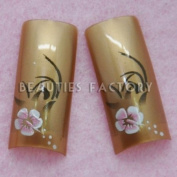 Airbrushed French Nail Tips (70pcs w/ tip box & glue) - ORCHID ON GOLD CODE