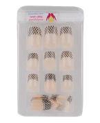 Black & Pearlescent Beige Criss Cross French Tip w/ Glitter Trim Glue/Stick/Press-On Artificial/False Nails