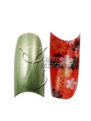 Pearl Green Airbrushed Nail Tips w/ Underside Oriental Floral Design