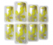 Yellow & Purple Floral Glue/Stick/Press-On Artificial/False Nails