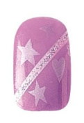 Party Nails Pre-glued 2x Sets of 12 Nails Each Pack Total of 24 Nails in Colour Purple Hearts and Stars #88540 + A-viva Eco Nail File