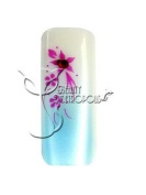 Blue/Fuchsia Floral w/ Rhinestone Pre-designed Artificial/False French Nail Tips