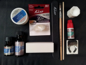 Complete Acrylic Sculpture Kit-Starter Nail kit with Maximum Speed Nail Glue / Acrylic primer/Acrylic Liquid/Acrylic Powder/20 Natural Nail Tips/20 Nail Forms/Brush/Nail File and White Buff Block