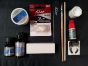 Complete Acrylic Sculpture Kit-Starter Nail kit with Maximum Speed Nail Glue / Acrylic primer/Acrylic Liquid/Acrylic Powder/20 Natural Nail Tips/20 Nail Forms/Brush/Nail File and White Buff Block