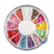 12 Colours Heart Shaped Designs Nail Art Polymer Decal Slices in Wheel - Ready to Use by Winstonia