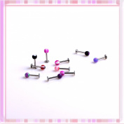 Mix Colour Labret Balls Lip Tragus Jewellery Ring Ear Stud Bars Kit 10 Pcs P1317