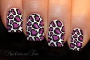 Purple Leopard Skin Print Nail Wrap Art on Transparent Water Transfer Decals 12pcs