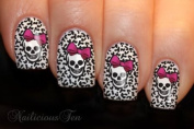 Skull with Bow & Animal Print Background Nail Wrap Art Water Transfer Decals 12pcs