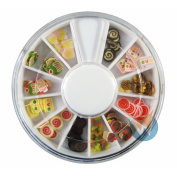 12 Colours Cupcake Candy Designs Nail Art Polymer Decal Slices in Wheel - Ready to Use by Winstonia