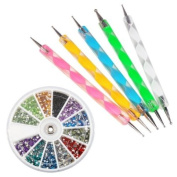 5pcs Double Way Dotting Pen Set with Free 1800pcs Nail Art Rhinestone Wheel Round Set