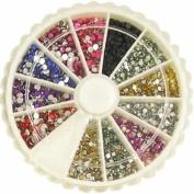 2400 1mm & 2mm Round Nail Art Rhinestone Wheel Kit